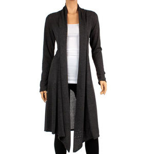 Rags and Couture Sweaters - Knee Length Open Front  Draped Duster Cardigan XL